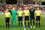 Goalkeeper Yapp Hung Fai of Hong Kong (L) and Goalkeeper Mutaz Yasin Alfityani of Jordan (R) poses for photos among Supresencia Steve Asistido 4th official referee and Tojo Minoru referee during the International Friendly match between Hong Kong and Jordan at Mongkok Stadium on June 7, 2017 in Hong Kong, China. Photo by Marcio Rodrigo Machado / Power Sport Images