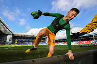 Preston North End's Paul Gallagher climbs the advertising boards to give his shirt to a young fan<br /> <br /> Photographer Alex Dodd/CameraSport<br /> <br /> The EFL Sky Bet Championship - Blackburn Rovers v Preston North End - Saturday 9th March 2019 - Ewood Park - Blackburn<br /> <br /> World Copyright © 2019 CameraSport. All rights reserved. 43 Linden Ave. Countesthorpe. Leicester. England. LE8 5PG - Tel: +44 (0) 116 277 4147 - admin@camerasport.com - www.camerasport.com