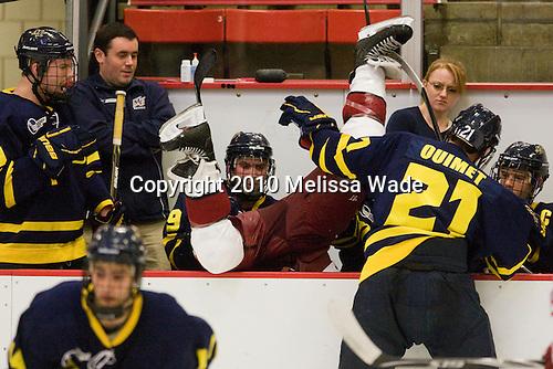 Ryan Flanigan (Merrimack - 20), Carter Madsen (Merrimack - 9), Danny Fick (Harvard - 7), Francois Ouimet (Merrimack - 21), Chris Barton (Merrimack - 23) - The visiting Merrimack College Warriors defeated the Harvard University Crimson 3-1 (EN) at Bright Hockey Center on Tuesday, November 30, 2010.
