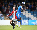 Gillingham's Deji Oshilaja tussles with Sheffield United's Matt Done during the League One match at the Priestfield Stadium, Gillingham. Picture date: September 4th, 2016. Pic David Klein/Sportimage