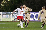14 November 2008: Maryland's Jeremy Hall (17) and Boston College's Jamie Melas (27). The University of Maryland defeated Boston College 1-0 at WakeMed Stadium at WakeMed Soccer Park in Cary, NC in a men's ACC tournament semifinal game.