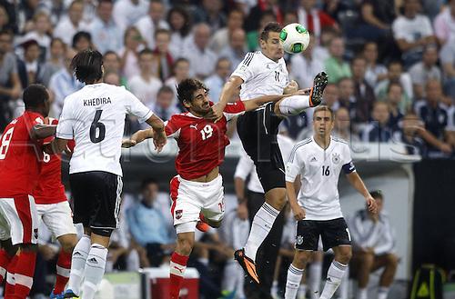 06.09.2013. Allianz Arena, Munich, Germany.  Germanys Miroslav Klose against Austrias Veli Kavlak Germany versus Austria  World Cup Qualification Munich