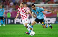 GDANSK, POLONIA, 18 JUNHO 2012 - EURO 2012 - ESPANHA X CROACIA - Alvaro Arbeloa jogador da Espanha durante lance partida contra a Croacia pela terceira rodada do Grupo C da Euro 2012 em Gdansk na Polonia , nesta segunda-feira , 18. (FOTO: PIXATHLON / BRAZIL PHOTO PRESS).
