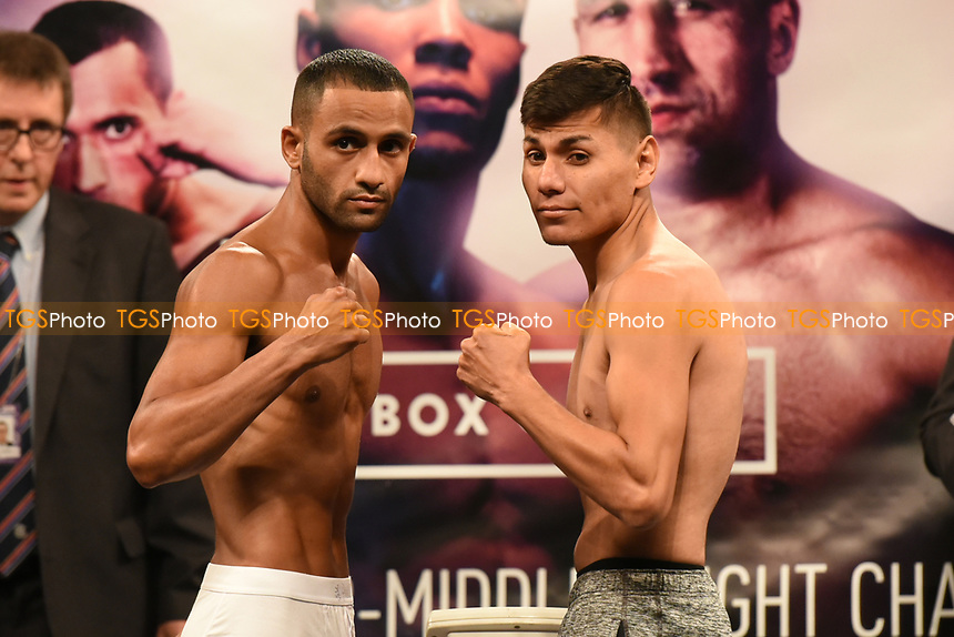 Kid Galahad (L) and Jose Cayetano during a Weigh-In at the SSE Arena on 14th July 2017