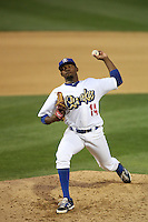 Luis De Paula (14) of the Rancho Cucamonga Quakes pitches during a game against the Modesto Nuts at LoanMart Field on May 39, 2015 in Rancho Cucamonga, California. Rancho Cucamonga defeated Modesto, 13-2. (Larry Goren/Four Seam Images)