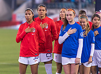 , FL - : Margaret Purce #30 and Alana Cook #29 of the United States line up during a game between  at  on ,  in , Florida.
