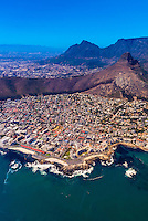 Aerial view of Cape Town with Lion's Head and Table Mountain in background, South Africa.