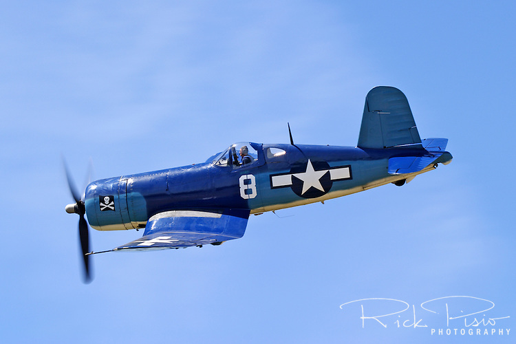 A Goodyear built FG-1D Corsair makes a fly by during the 2005 Grass Valley Airfest at the Nevada County Airport in the California foothills. The Corsair was pirmarily known as a Marines fighter plane during the Second World War with an ability to out climb and out dive the primary Japanese fighter, the A6M Zero. The aircraft's performance advantage, its ability to take severe punishment, and six .50-caliber Browning machine guns gave Navy and Marine pilots the advantage in the skies over the Pacific. Corsairs also flew in combat during the Korean War as well as the 1969 Football War between Honduras and El Salvador.