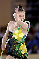 October 21, 2001; Madrid, Spain:  ELENA TKACHENKA for Belarus performs with hoop at 2001 World Championships at Madrid.