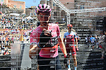 Race leader Rohan Dennis (AUS) BMC Racing Team signs on before the start of Stage 4 a 202km very hilly stage running from Catania to Caltagirone, Sicily, Italy. 8th May 2018.<br /> Picture: LaPresse/Gian Mattia D'Alberto | Cyclefile<br /> <br /> <br /> All photos usage must carry mandatory copyright credit (&copy; Cyclefile | LaPresse/Gian Mattia D'Alberto)