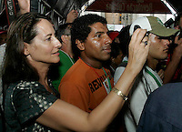 Former French presidential candidate for the Socialist Party Segolene Royal takes a snapshot during a ceremony in Belem do Para, northern Brazil, on January 29, 2009 in the framework of the World Social Forum