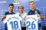 CD Leganes' new players Dani Ojeda (l) and Rodrigo Tarin (r) with the General Manager Txema Indias during their official presentation.  July 11, 2018. (ALTERPHOTOS/Acero)