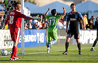 Fredy Montero (center) celebrates his goal between Jon Busch (18) and Bobby Burling (2). The Seattle Sounders defeated the San Jose Earthquakes 1-0 in the second annual Heritage Cup at Buckshaw Stadium in Santa Clara, California on July 31st, 2010.