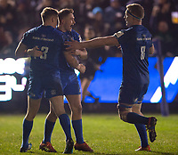 Leinster's Jordan Larmour celebrates scoring his sides second try with Garry Ringrose and Dan Leavy<br /> <br /> Photographer Bob Bradford/CameraSport<br /> <br /> Heineken Champions Cup Pool 1 - Bath v Leinster - Saturday 8th December 2018 - The Recreation Ground - Bath<br /> <br /> World Copyright © 2018 CameraSport. All rights reserved. 43 Linden Ave. Countesthorpe. Leicester. England. LE8 5PG - Tel: +44 (0) 116 277 4147 - admin@camerasport.com - www.camerasport.com