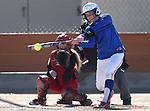 Western Nevada College's Hali Bennion hits against Colorado Northwestern Community College at Edmonds Sports Complex in Carson City,Nev., on Friday, Feb. 21, 2014. Western swept the doubleheader 10-2 and 7-2.<br /> Photo by Cathleen Allison/Nevada Photo Source
