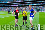 Referee David Gough with Cillian O'Connor and Johnny Buckley before their clash with Mayo in the All Ireland Semi Final Replay in Croke Park on Saturday.