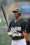 1 March 2009: Florida Marlins' left fielder Cameron Maybin prepares to take batting practice prior to a Spring Training game against the St. Louis Cardinals at Roger Dean Stadium in Jupiter, Florida. The Cardinals outhit the Marlins 20-13 resulting in a 14-10 win for the Cards. Mandatory Photo Credit: Ed Wolfstein Photo