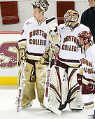 Joe Pearce (BC - 29), Adam Reasoner (BC - 30) - The Boston College Eagles defeated the visiting Northeastern University Huskies 7-1 on Friday, March 9, 2007, to win their Hockey East quarterfinals matchup in two games at Conte Forum in Chestnut Hill, Massachusetts.