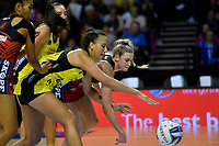 Pulse&rsquo; Aliyah Dunn and Tactix' Jane Watson in action during the ANZ Premiership - Pulse v Tactix at TSB Arena, Wellington, New Zealand on Monday 14 May 2018.<br /> Photo by Masanori Udagawa. <br /> www.photowellington.photoshelter.com
