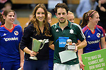 GER - Luebeck, Germany, February 07: During the prize giving ceremony at the Final 4 on February 7, 2016 at Hansehalle Luebeck in Luebeck, Germany. (Photo by Dirk Markgraf / www.265-images.com) *** Local caption *** Lisa-Marie Schuetze #19 of Duesseldorfer HC, Benedikt Fuerk #12 of HTC Uhlenhorst Muehlheim present their trophys as Best Players of the Final4