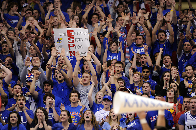 LAWRENCE, KS - JANUARY 16, 2012: Fans of the Kansas Jayhawks hold ESPN signs during a regular season game versus the Baylor Bears at the Allen Fieldhouse. Jayhawks defeat the Bears 92-74..(Photo by Allen Kee / ESPN)..- RAW FILE AVAILABLE -