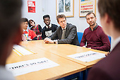 Labour Shadow Education Secretary Tristram Hunt MP and actor and campaigner Charlie Condou visit Little Ilford School in Newham, London, to discuss the school's work with Stonewall on its campaign against homophobic bullying.