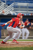 Williamsport Crosscutters left fielder Josh Stephen (2) follows through on a swing during a game against the Batavia Muckdogs on August 3, 2017 at Dwyer Stadium in Batavia, New York.  Williamsport defeated Batavia 2-1.  (Mike Janes/Four Seam Images)
