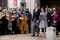 Kings of Spain, King Felipe VI of Spain and Queen Letizia of Spain delivers the Cervantes prize for literature in Spanish to the Uruguayan writer Ida Vitale at the Paraninfo of the Alcala University in the World Heritage City of Alcala de Henares near Madrid on April 23, 2019.<br /> Kings of Spain listen to the Tuna of the University of Alcala