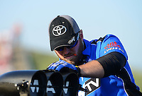 May 18, 2012; Topeka, KS, USA: NHRA crew member for top fuel dragster driver Brandon Bernstein during qualifying for the Summer Nationals at Heartland Park Topeka. Mandatory Credit: Mark J. Rebilas-