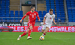 Cardiff - UK - 9th September :<br />Wales v Belarus Friendly match at Cardiff City Stadium.<br />Gareth Bale of Wales is marked by Ivan Bakhar of Belarus.<br />Editorial use only