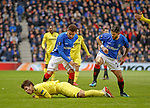 29.11.18 Rangers v Villarreal: Daniel Candeias tangles with Santiago Caseres leading to a second booking from the ref and a sending off just before half time