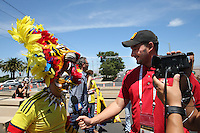 Santa Clara, CA - Friday June 03, 2016: Colombia fan is interviewed prior to a Copa America Centenario Group A match between United States (USA) and Colombia (COL) at Levi's Stadium.