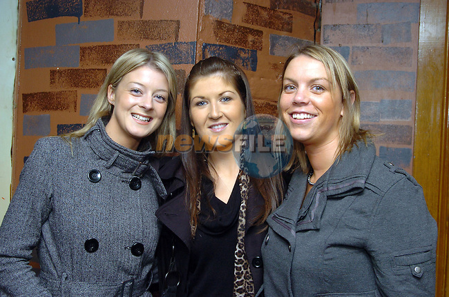 20th October, 2006. Enjoying a night out in McPhails are from L to R: Orla Devine (Drogheda), Aisling Kenny (Swords) and .&amp;#xA;Photo: BARRY CRONIN/Newsfile.&amp;#xA;(Photo credit should read BARRY CRONIN/NEWSFILE)&amp;#xA;<br />