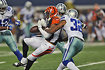 Dallas Cowboys cornerback Orlando Scandrick (32) in action during the pre-season game between the Cincinnati Bengals and the Dallas Cowboys at the AT & T stadium in Arlington, Texas. Dallas leads Cincinnati 14 to 7 at halftime.