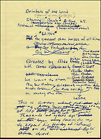 BNPS.co.uk (01202 558833).Pic: FameBureau/BNPS..Original lyrics for 'Drinkers on the Wind'...Get me Wonga.....A 'lost' archive of original music manuscripts, contracts and pictures of the Beach Boys has emerged for sale for nearly seven million pounds...The vast collection, that spans the first 20 years of the band's hugely successful career and consists of thousands of documents, was found forgotten in a storage unit...The treasure trove includes the sheet music for the Beach Boys' classic hits like 'God Only Knows', 'Good Vibrations' and 'Fun, Fun, Fun.'..It also includes handwritten lyrucs, recording contracts and copyright certificates signed by Brian Wilson and Mike Love, musical arrangements, royalty cheques and personal letters...And there are more than 60 behind-the-scenes photos of the hugely successful American rock band, many of them never seen before..