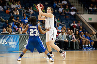 NORFOLK, VA--Sara James makes the pass against Hampton University at the Ted Constant Convocation Center at Old Dominion University in Norfolk, VA in the first round of the 2012 NCAA Championships. The Cardinal advanced with a 73-51 win to play West Virginia on Monday, March 19.