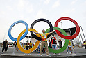 Volunteer, Olympic : AUGUST 9, 2016 -  : <br /> Volunteer staff poses in front of the Olympic monument<br /> at Youth Arena <br /> during the Rio 2016 Olympic Games in Rio de Janeiro, Brazil. <br /> (Photo by Yusuke Nakanishi/AFLO SPORT)