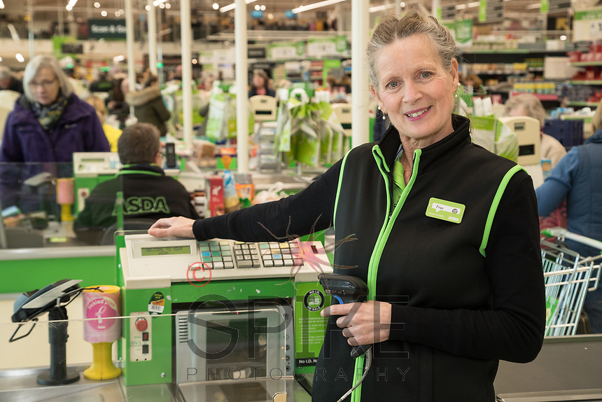 Fran Byrne is pictured on her checkout
