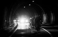 Christopher Juul-Jensen (DEN/ORICA-Scott) escorting a peloton of abandoned riders (via a short-cut) towards the finish<br /> <br /> Il Lombardia 2017<br /> Bergamo to Como (ITA) 247km
