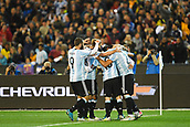 June 9th 2017, Melbourne Cricket Ground, Melbourne, Australia; International Football Friendly; Brazil versus Argentina; Argentina players celebrate scoring a goal in the 44th minute
