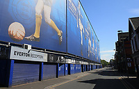 May 8th 2020, Liverpool, United Kingdom;  Everton's Goodison Park stadium during the suspension of the Premier League. A view of the closed Everton FC reception and deserted Goodison Road