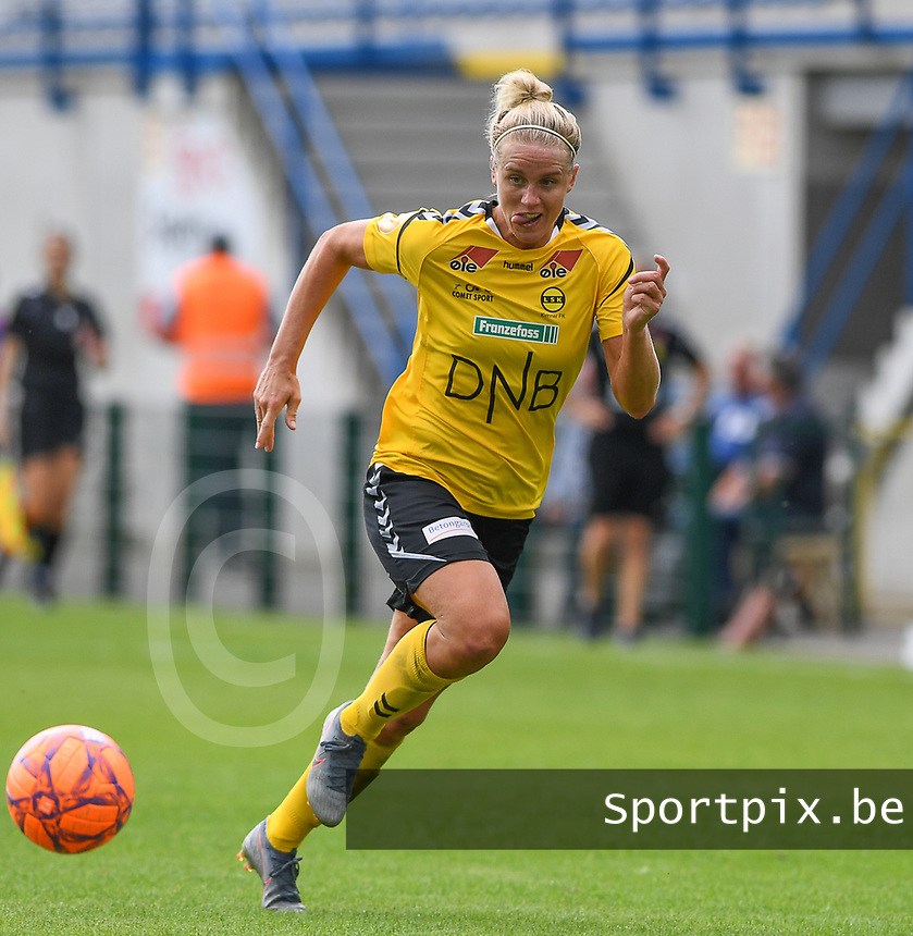 20190807 - DENDERLEEUW, BELGIUM : LSK's Elise Thorsnes pictured in action during the female soccer game between the Norwegian LSK Kvinner Fotballklubb Ladies and the Northern Irish Linfield ladies FC , the first game for both teams in the Uefa Womens Champions League Qualifying round in group 8 , Wednesday 7 th August 2019 at the Van Roy Stadium in Denderleeuw  , Belgium  .  PHOTO SPORTPIX.BE for NTB  | DAVID CATRY