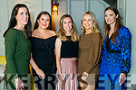 Enjoying Na Gaeil Social at the Meadowlands Hotel, Tralee on Saturday night last were l-r: Mary Barrett, Nora O'Connell, Sive Carey, Muireann Moriarty and Emily Brick.
