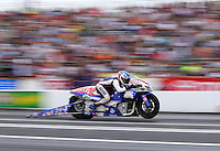 Jun 6, 2015; Englishtown, NJ, USA; NHRA pro stock motorcycle rider Hector Arana Jr during qualifying for the Summernationals at Old Bridge Township Raceway Park. Mandatory Credit: Mark J. Rebilas-