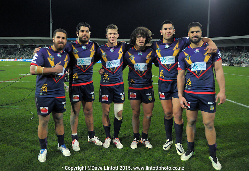 Melbourne Storm's Kiwi players, Left to Right: Kenny Bromwich, Tohu Harris, Matt Duffie, Kevin Proctor, Nelson Asofa-Solomona and Jesse Bromwich, after the NRL match between the Melbourne Storm and St George Illawarra Dragons at McLean Park, Napier, New Zealand on Saturday, 25 July 2015. Photo: Dave Lintott / lintottphoto.co.nz