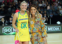 15.09.2018 Australia's Courtney Bruce in action during the Australia v South Africa netball test match at Spark Arena in Auckland. Mandatory Photo Credit ©Michael Bradley.