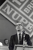 Rodney Bickerstaffe, General Secretary of the National Union of Public Employees, addresses the annual NUPE Conference, Blackpool 1988.
