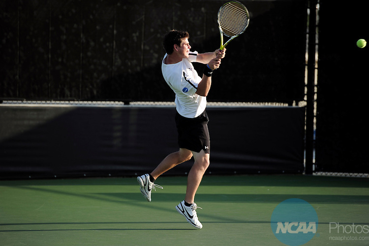 26 MAY 2011: Wes Waterman of Amherst returns a volley during the Division III Men's Tennis Championship held at the Biszantz Family Tennis Center and Pauley Tennis Complex in Claremont, CA. Amherst defeated Emory 5-2 for the national title. Stephen Nowland/NCAA Photos