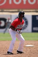 James Jones #27 of the High Desert Mavericks runs the bases against the Visalia Rawhide at Stater Bros. Stadium on May 16, 2012 in Adelanto,California. (Larry Goren/Four Seam Images)