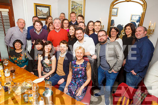 Garreth Freeman (Abbeydorney) and Catherine Jones (Manchester) seated third and fourth from the left,  celebrating their engagement in Bella Bia on Saturday night.